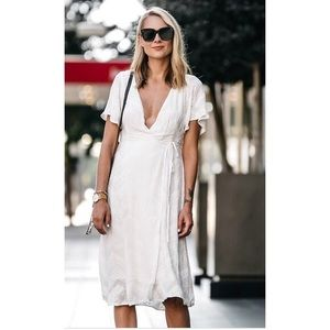 ASTR Embroidered Wrap Dress